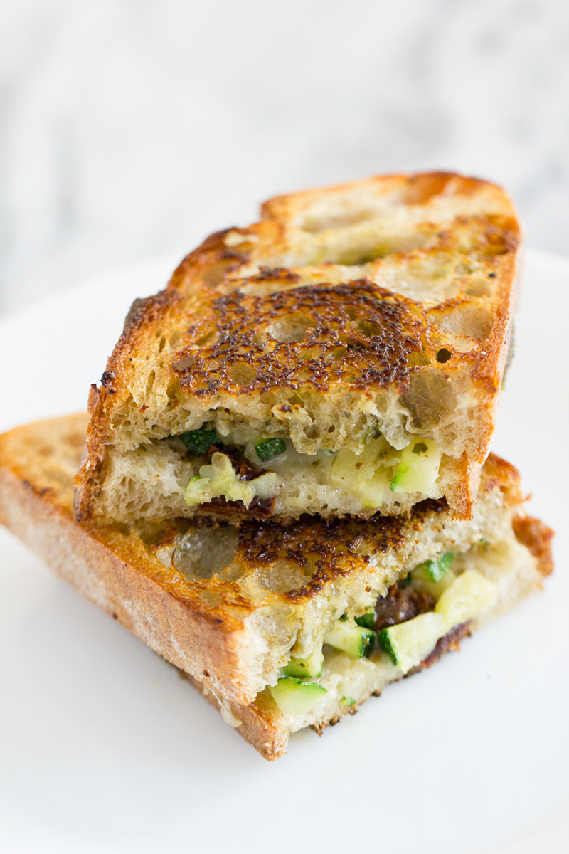 Pesto Zucchini Grilled Cheese with Sun-Dried Tomatoes