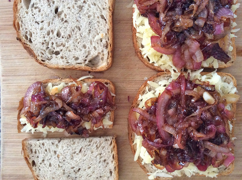 Emmentaler on Rye with Sweet-and-Sour Red Onions
